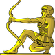 Golden Statue of an Archer vector clipart
