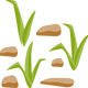 Grass and Rocks Vector clipart