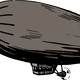 Grey Zeppelin Blimp Vector Clipart