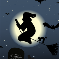 Halloween Card with Witch vector clipart