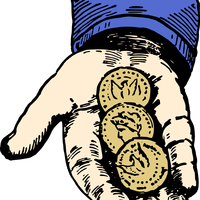 Hand with three Coins vector clipart