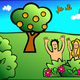 Happy Adam and Eve in Garden of Eden