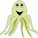 Happy Green Octopus vector clipart