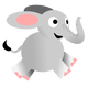 Happy running elephant vector clipart