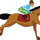 Horse with Jockey Vector Art