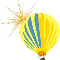 Hot Air Balloon Yellow Vector Clipart