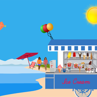 Ice Cream Cart on Beach vector clipart