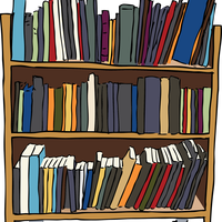 Library Book Cart Vector Graphic