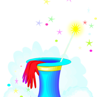 Magic Hat and Wand vector clipart