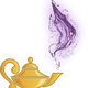Magic Lamp with purple smoke coming out vector clipart