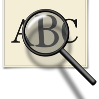 Magnifying Glass looking at ABC's vector clipart