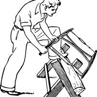 Man Sawing Wood Vector Clipart