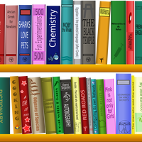 Many Books on the shelf Vector Clipart