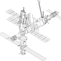 MIR Space Station Sketch vector clipart