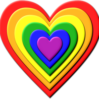 Multi Layered Rainbow Heart Vector Clipart