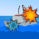 Naval Battle with explosions vector file