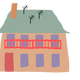 Old Brown house with beige roof vector clipart