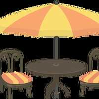 Outdoor Cafe Seating Vector Clipart