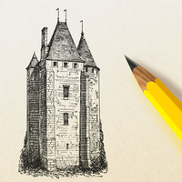 Pencil drawing a castle vector clipart