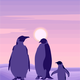 Penguins under the purple sky vector clipart
