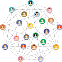 People connected in a web vector clipart