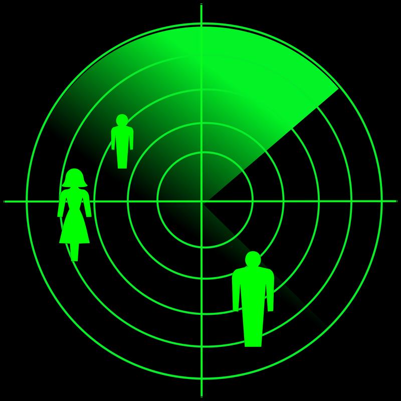 Futuristic radar. Military navigate sonar, army target