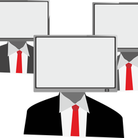 People with television heads vector clipart