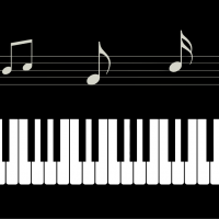 Piano Keyboard with Notes vector file