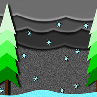 Pine Trees and Winter Snowflakes vector art