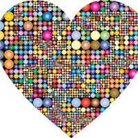 Prismatic circles in heart shape