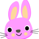 Purple Bunny Face Vector Art