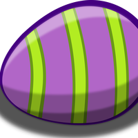Purple Striped Easter Egg, Vector Clipart