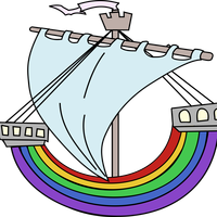 Rainbow Boat vector Clipart