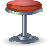 Red Stool Vector Clipart