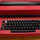 Red Typewriter with Keyboard