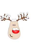 Reindeer with Red Nose and Antlers vector clipart