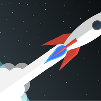 Rocket Blasting Off Into Space vector clipart