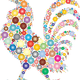 Rooster made from Colorful Orbs vector clipart