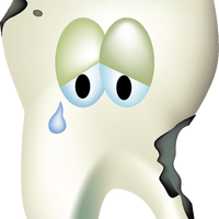 Sad Decaying Tooth Vector Clipart