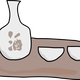 Sake and Cups vector clipart