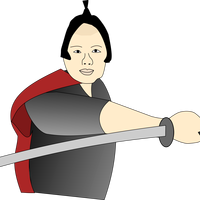 Samurai with long sword vector clipart