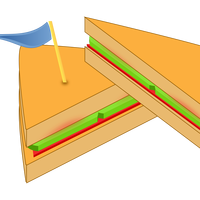 Sandwich with blue flag