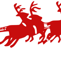 Santa Sleigh pulled by reindeer vector clipart