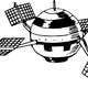 Satellite with solar panels vector clipart