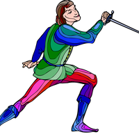 Shakespeare fencing character vector clipart