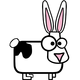 Silly Cartoon Cow-bunny vector clipart