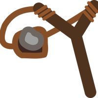 Slingshot with stone in it vector clipart
