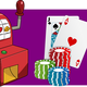 Slot Machines, cards, chips, and dart board vector clipart
