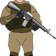 Soldier with Gun Vector Graphic