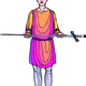 Squire bearing large sword in colorful clothes vector clipart